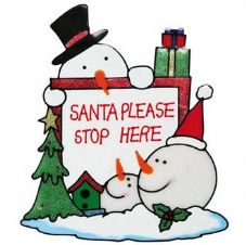 """SANTA PLEASE STOP HERE"" WINDOW CLING"